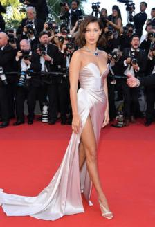 "CANNES, FRANCE - MAY 17: Bella Hadid attends the ""Ismael's Ghosts (Les Fantomes d'Ismael)"" screening and Opening Gala during the 70th annual Cannes Film Festival at Palais des Festivals on May 17, 2017 in Cannes, France. (Photo by George Pimentel/WireImage)"