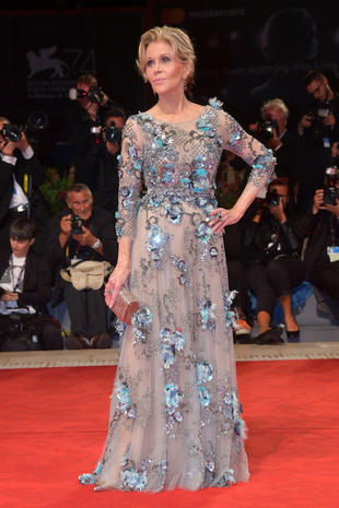 VENICE, ITALY - SEPTEMBER 01: Jane Fonda walks the red carpet ahead of the 'Our Souls At Night' screening during the 74th Venice Film Festival at Sala Grande on September 1, 2017 in Venice, Italy. (Photo by Dominique Charriau/WireImage)